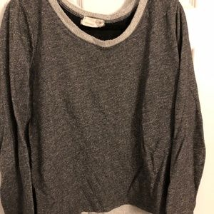 Gray Sweater with Lace and Tie Detail on Back